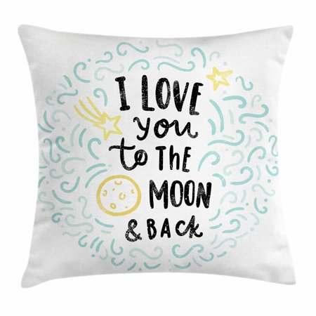 I Love You Throw Pillow Cushion Cover, Cartoon Style Sweet Dreams Children Sibling Love Friends Baby Kids Theme, Decorative Square Accent Pillow Case, 16 X 16 Inches, Mint Grey Yellow, by Ambesonne - Pillow Friends