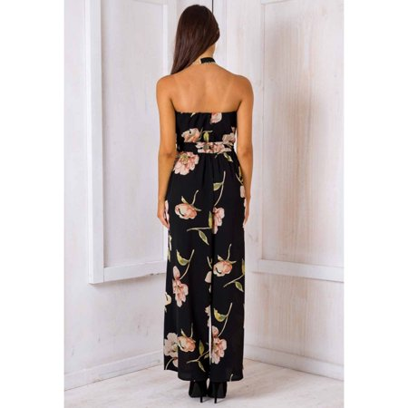 Women Jumpsuit Floral Print Off Shoulder Sleeveless Elastic Waist Vintage Casual Romper Black - image 4 of 7