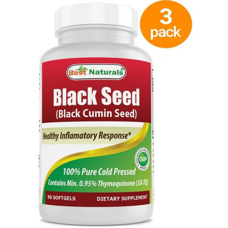3 PACK - Best Naturals Black Seed Oil Capsules 500 mg 90 Count - Minimum 0.95% Thymoquinone per Black Cumin Seed Oil (1.53 Ct Natural)