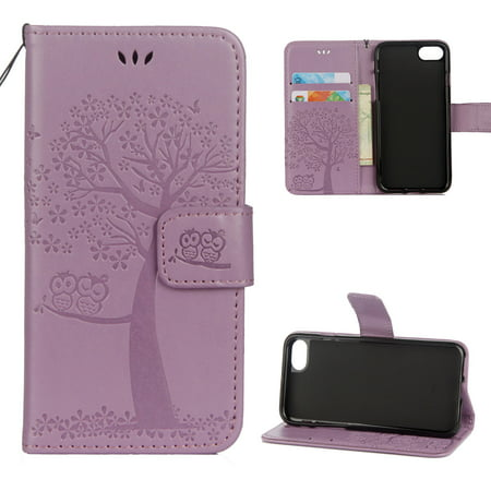 iPhone 7 Case, iPhone 8 Wallet case, Allytech Pretty Retro Embossed Owl Tree Design PU Leather Book Style Wallet Flip Case Cover for Apple iPhone 7 and iPhone 8, Lightpurple ()