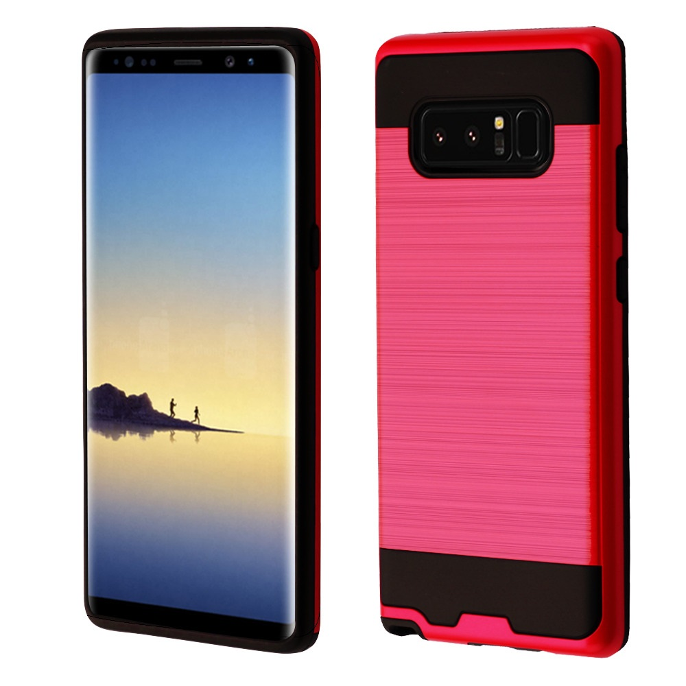 Kaleidio Case For Samsung Galaxy Note 8 [Brushed Metal Texture] Slim Fit Hybrid Armor [Shockproof] Protective TPU Lightweight 2-Piece Cover w/ Overbrawn Prying Tool [Red/Black]