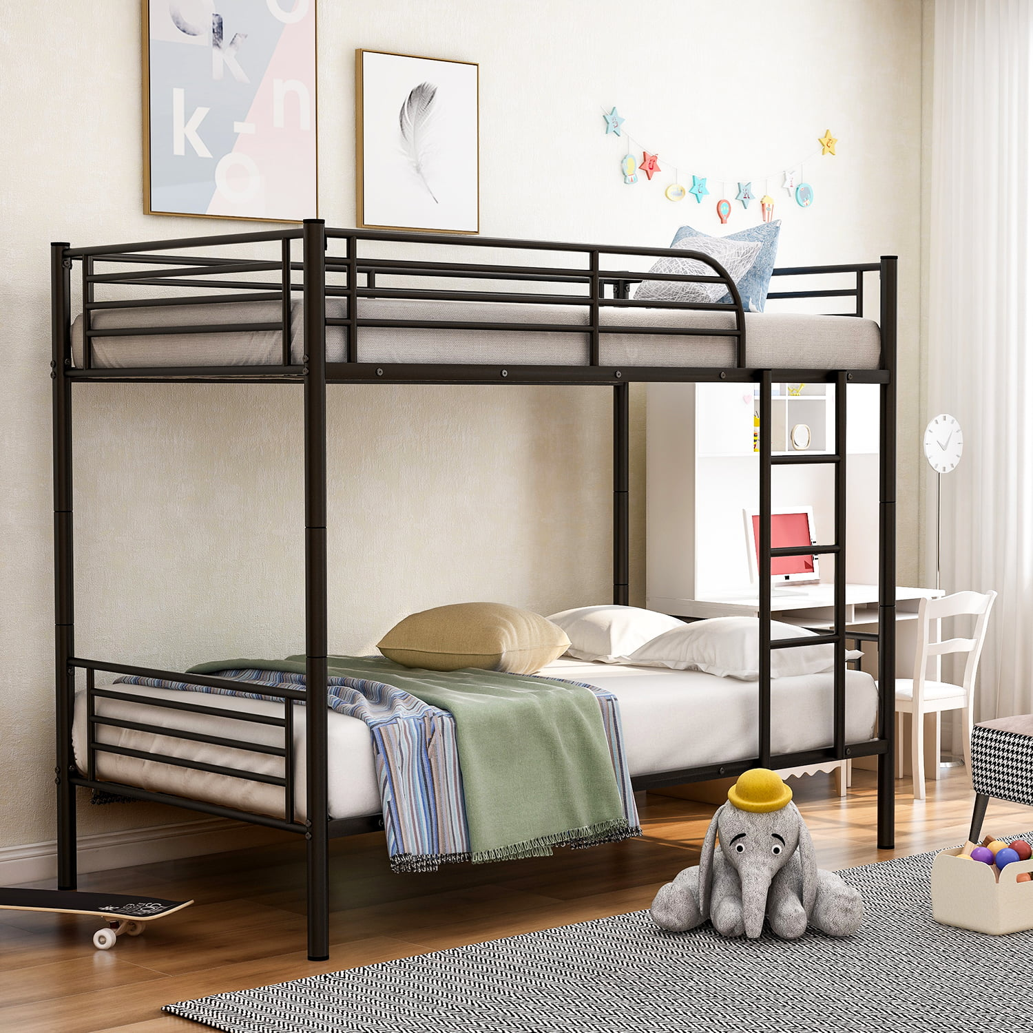 Picture of: Euroco Twin Over Twin Metal Bunk Bed Multiple Colors Walmart Com Walmart Com