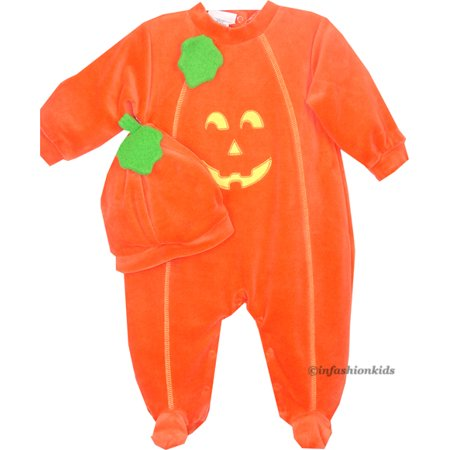 LE TOP Baby Pumpkin Costume with PUMPKIN Hat! 12 month