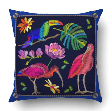 BPBOP Brazilian Birds Embroidery Scarf With Ibises Toucan And Palm Leaf Colorful Pillowcase Cover Cushion 18x18 inch