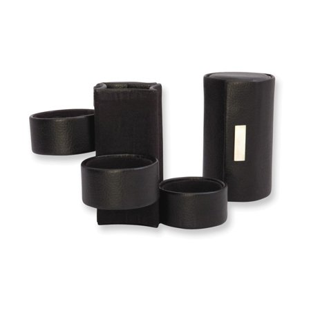 Three Level Black Leather Jewelry Roll ()