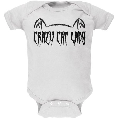 Halloween Crazy Cat Lady Soft Baby One Piece (Baby Halloween Old Lady)