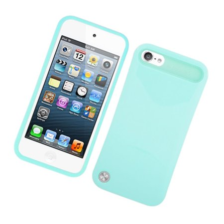 Insten Night Glow Jelly Hard Plastic/Soft Silicone Case Cover For Apple iPod Touch 6th / 5th Gen, Mint Green