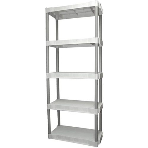 Elegant Plano 5 Shelf Plastic Storage Unit, Light Taupe