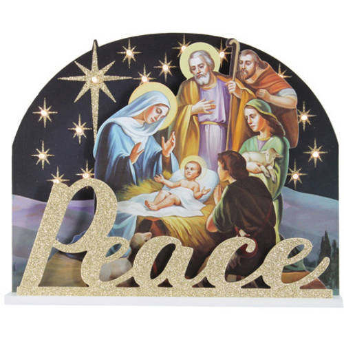 Holiday Time Peace Nativity Lighted Sign, Battery-Operated