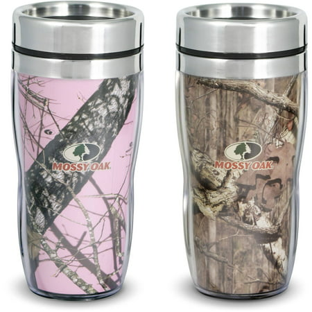 Wall Plastic Mug - Mossy Oak His and Hers Pink & Brown Set of 2 Double Walled Mugs