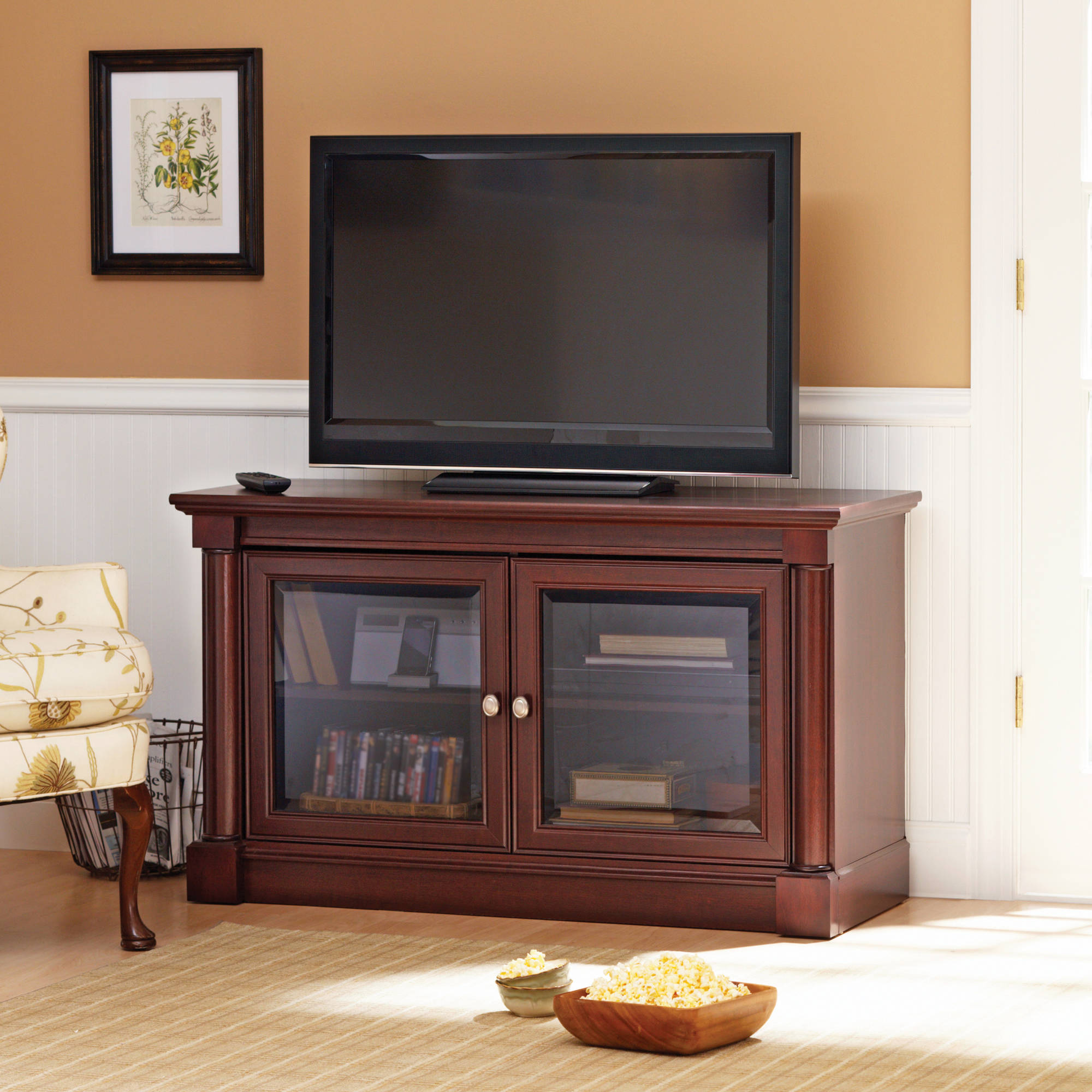 better homes and gardens wood flat panel tv stand, box 1 - walmart