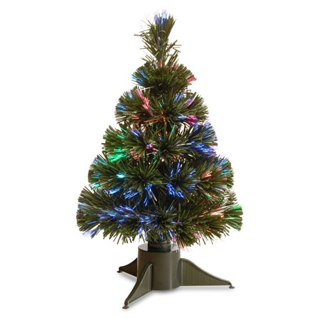 fiber optic ice pre lit full christmas tree
