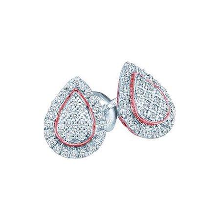 10kt White Gold Womens Round Diamond Rose-tone Teardrop Cluster Screwback Earrings 1/5 Cttw - image 1 de 1