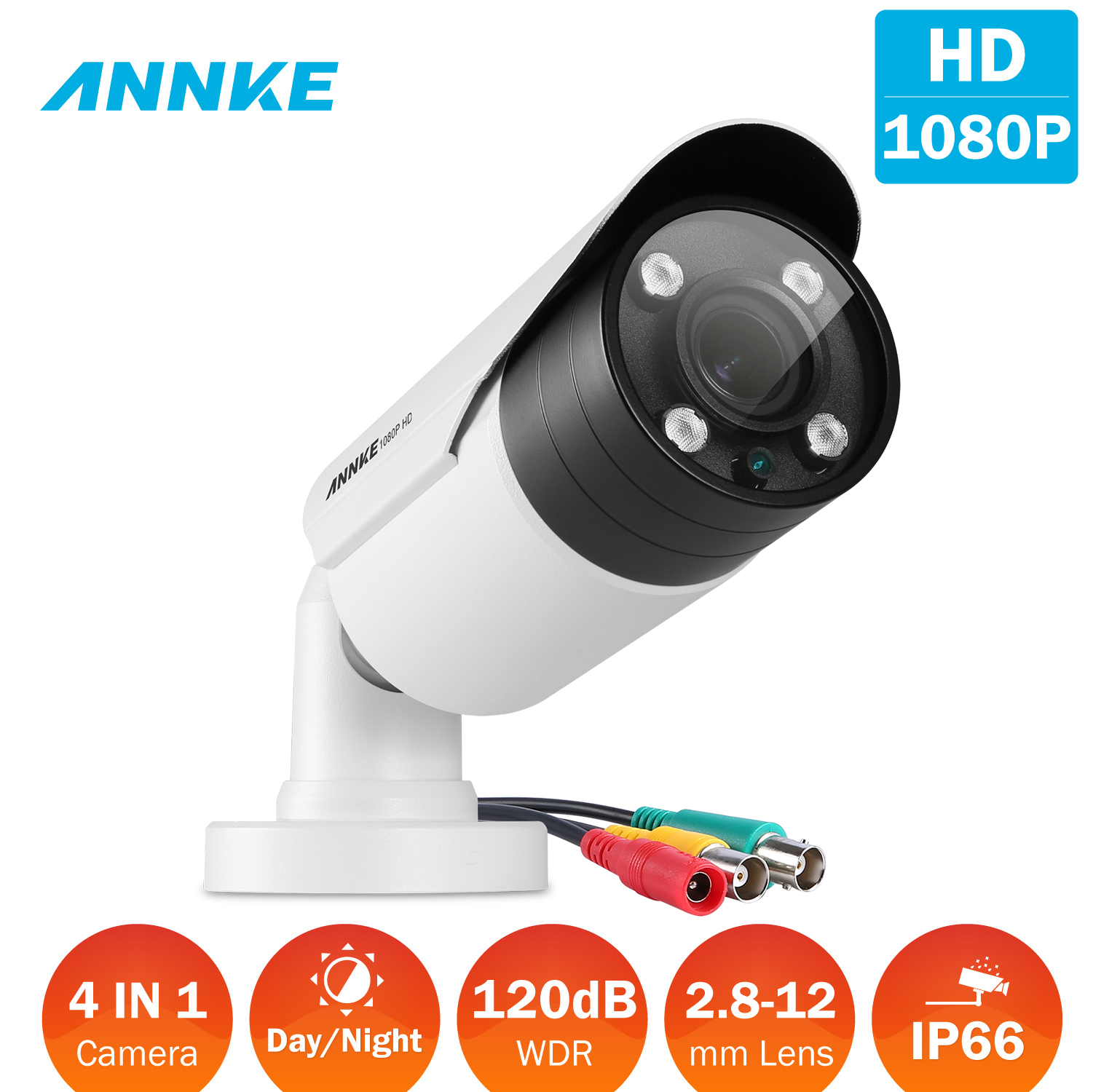 ANNKE HD-TVI 1080p 2.0MP Surveillance Camera with Indoor/Outdoor IP66 Weatherproof Housing and IR Night Vision LEDs, Supports multiple TVI/AHD/CVI/ CVBS video output