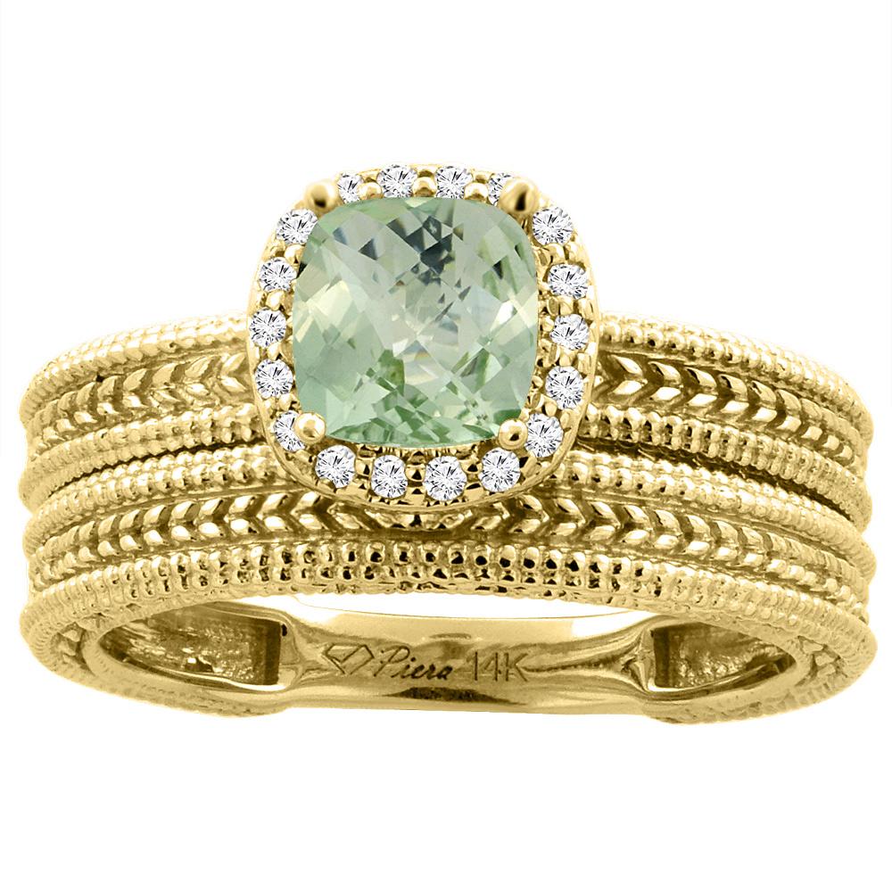 14K Yellow Gold Diamond Natural Green Amethyst 2-pc Engagement Ring Set Cushion 7x7 mm, size 6 by Gabriella Gold