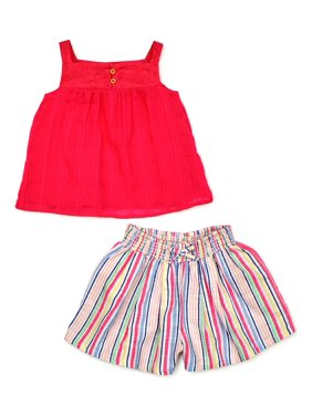 Wonder Nation Baby Girls & Toddler Girls Strappy Top & Shorts, 2pc Outfit Set (12M-5T)