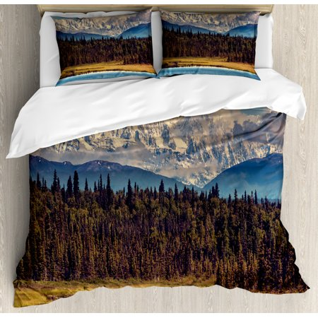 Alaska King Size Duvet Cover Set, Colorful Summer Season in Northwest America Snow White Mountains River Fresh Forest, Decorative 3 Piece Bedding Set with 2 Pillow Shams, Multicolor, by Ambesonne Mountain Fresh Bedding