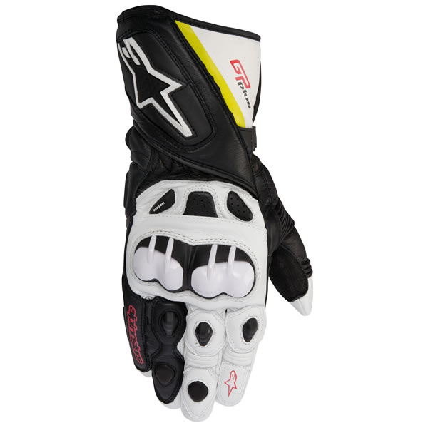 Alpinestars GP Plus Racing/Performance Leather Gloves Black/White/Yellow/Red