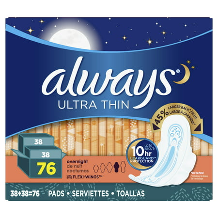 Always Ultra Thin, Size 4, Overnight Pads With Wings, Unscented, 76