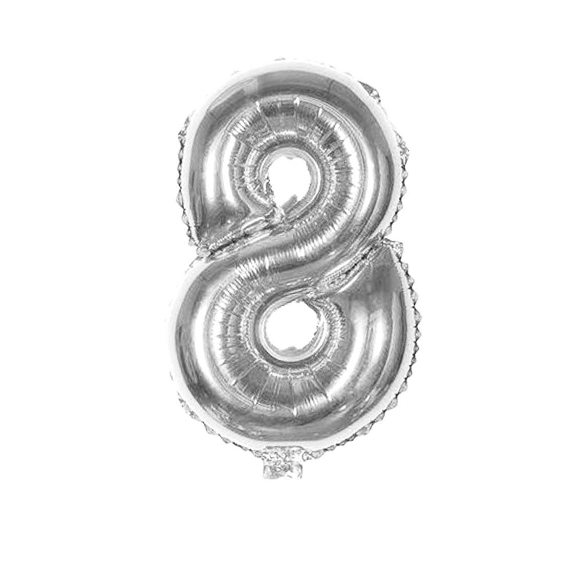 "Unique Bargains Foil Number 8 Shape Helium Balloon Birthday Wedding Decor Silver Tone 16"""