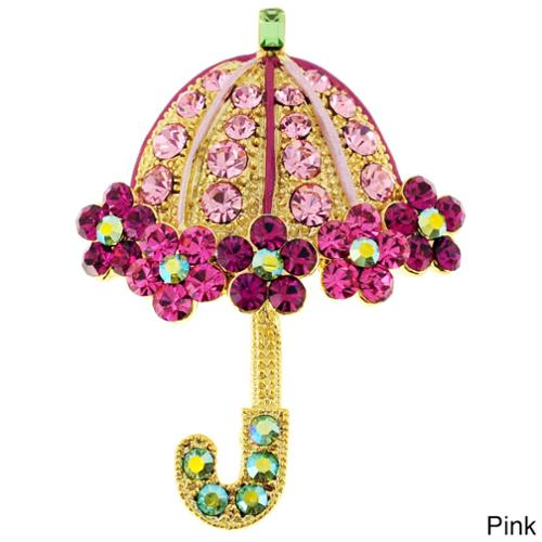 Black or Goldtone Crystal Lady Umbrella Brooch Purple Umbrella