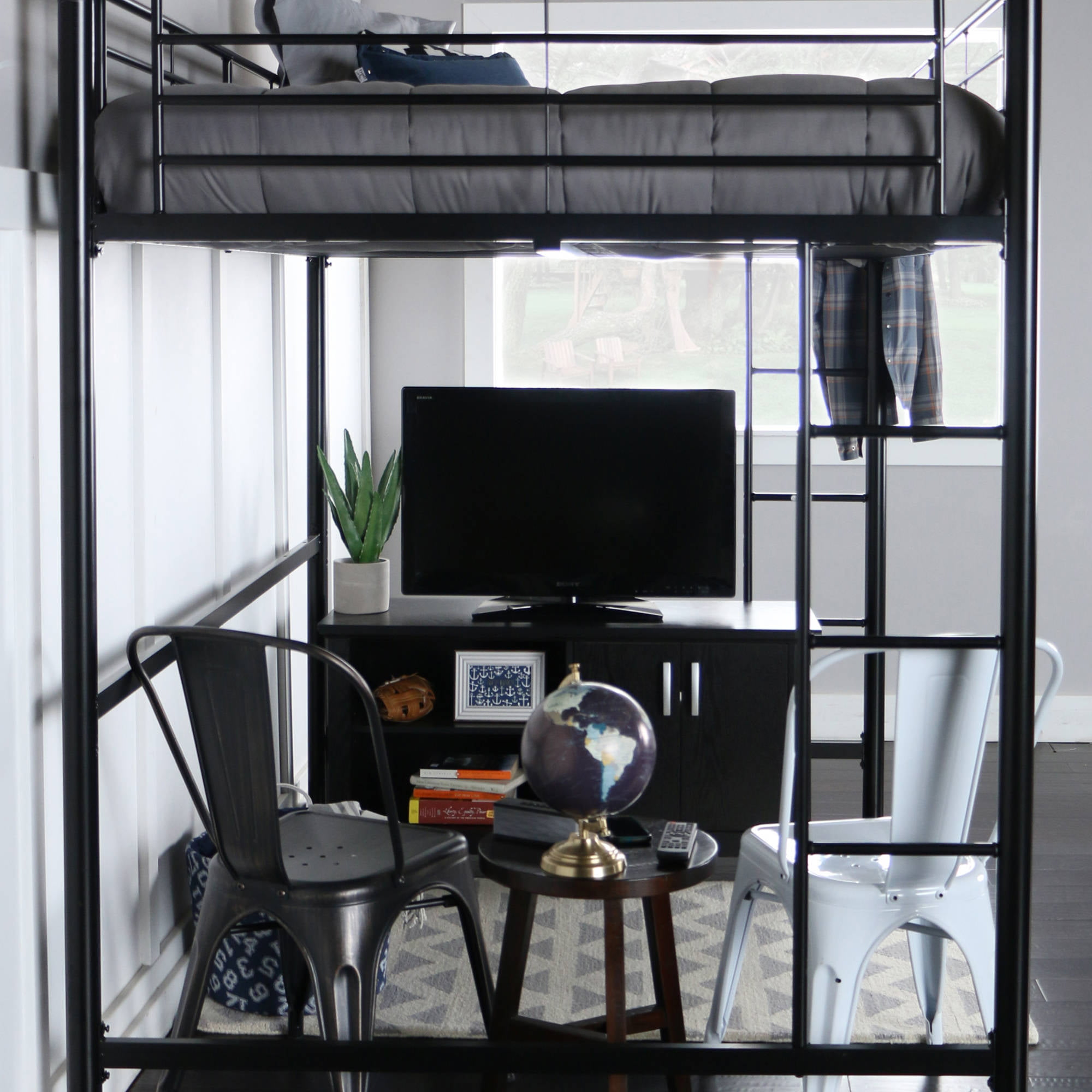 Premium Full Size Black Metal Loft Bed   Walmart.com
