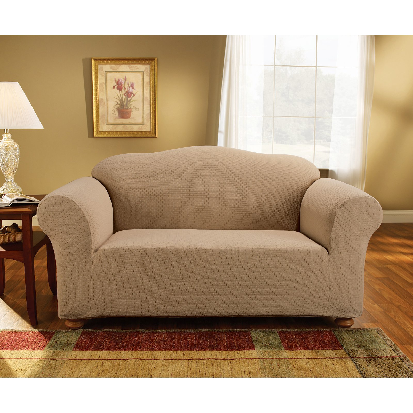 Sure Fit Simple Stretch Subway One-Piece Loveseat Slipcover