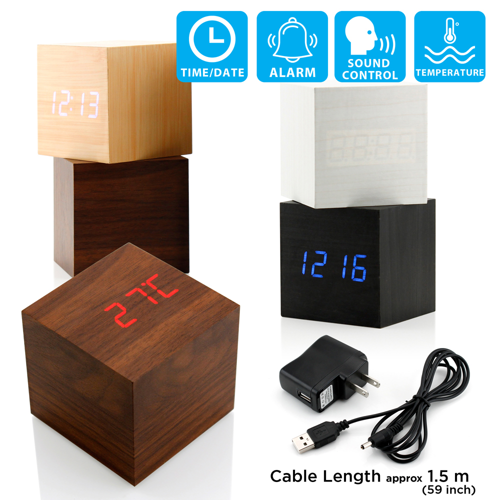 Ultra Modern Wooden LED Clock Square Cube Digital Alarm Thermometer Timer Calendar Updated 2016 Brighter Stylish Wood Clock