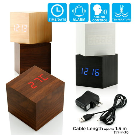 Ultra Modern Wooden LED Clock Square Cube Digital Alarm Thermometer Timer Calendar Updated 2016 Brighter Stylish Wood -