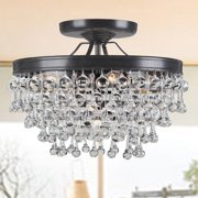 The Lighting Store Claudia 5-light Antique Black Glass Drop Flush Mount Chandelier