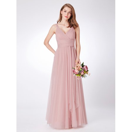 Ever-Pretty Women's Elegant Long Tulle Party Wedding Guest Bridesmaid Maxi Dresses for Women 7303 Blush US 4](Pretty Party Outfits)