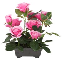 """10"""" Potted Pink Rose Flowers"""