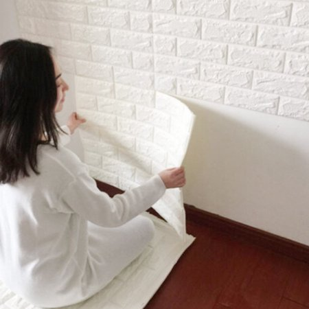 nk home 3d wall stickers panels white brick wallpaper peel and stick