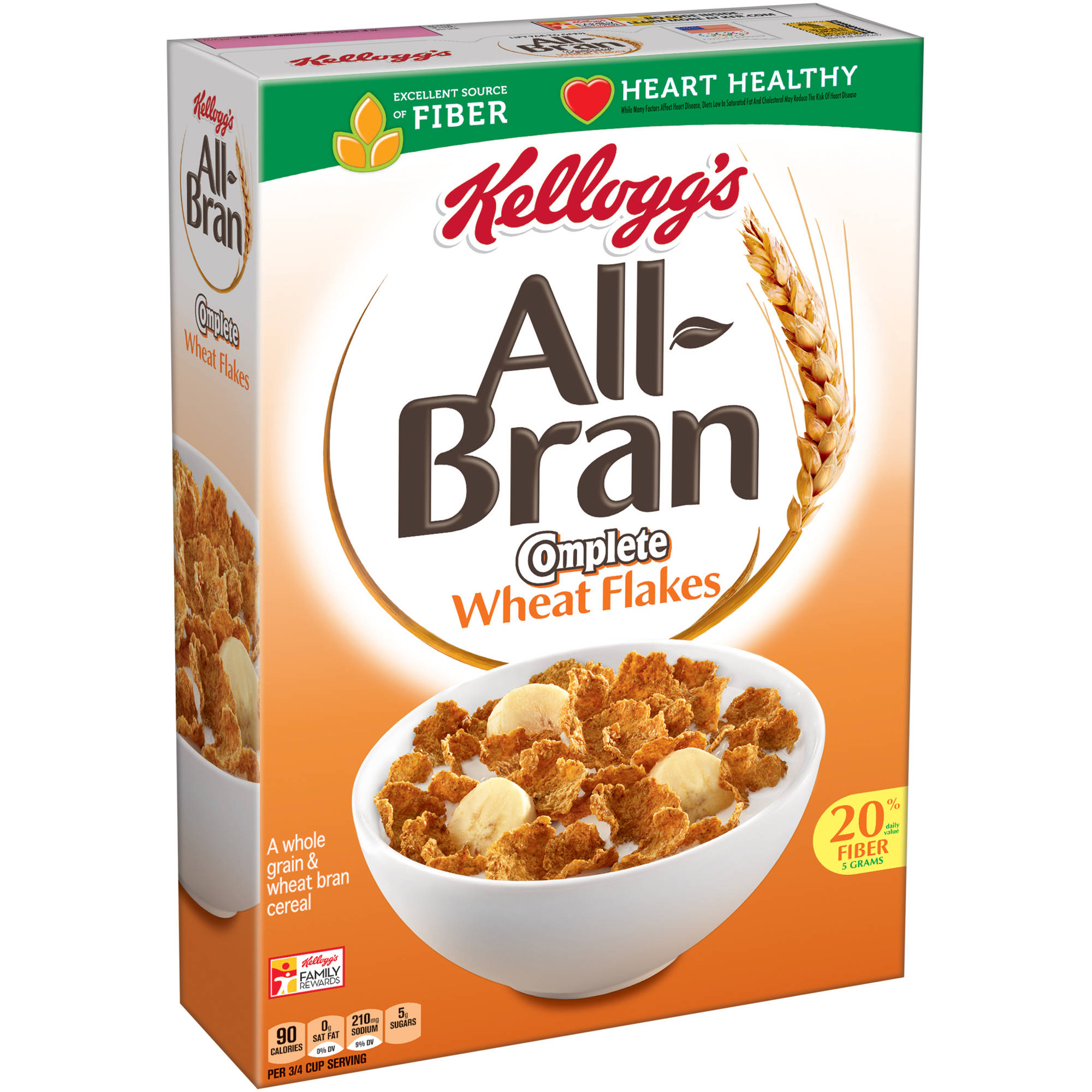 Kellogg's All-Bran Complete Wheat Flakes Cereal, 18 oz