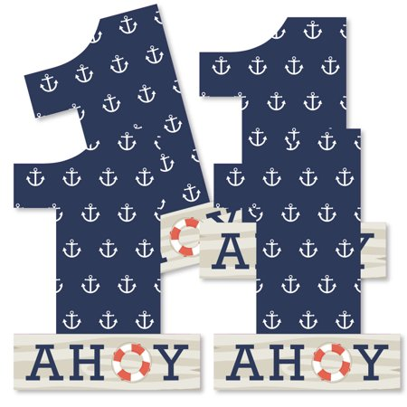 1st Birthday Ahoy - Nautical - One Shaped Decorations DIY First Birthday Party Essentials - Set of 20 - Nautical Theme Party Decorations