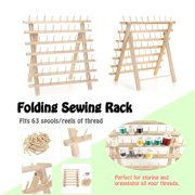 60 Spools Wood Sewing Thread Stand Organizer Craft Embroidery Storage Rack Holder