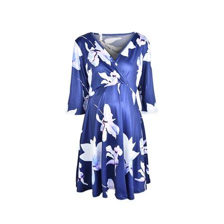 d5401f2d96442 Jchiup - Jchiup Women's Chic Flower Print V-Neck 3/4 Sleeve Baby Shower  Maternity Dress - Walmart.com