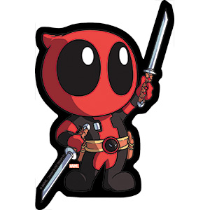 "Deadpool Chibi Swords, Officially Licensed Original Artwork - 3"" x 4.5"" - Stickers DECAL"