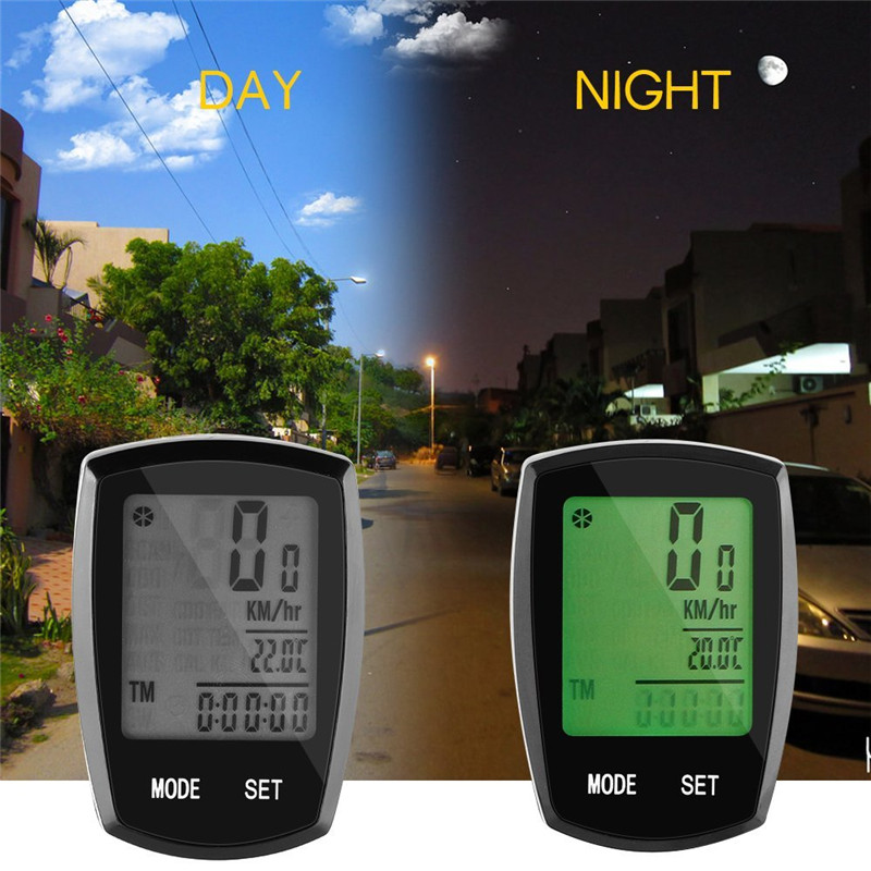 Wireless Day-Night 24 Functions Waterproof Cycling Computer,ThorFire Bike Computer Bicycle Speedometer Bike Odometer Sports & Outdoors with Larger LCD Screen Display