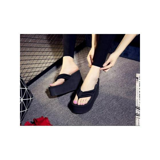 52ea28e5cacc29 Meigar - Meigar Womens Flip-flops Sexy High Heels Slippers Wedge Platform  Antiskid Beach Shoes - Walmart.com