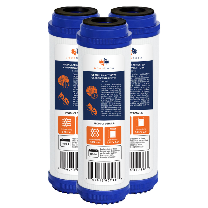 "3 Pack of Granular Activated Carbon 10"" x 2.5"" 5 Micron Water Filter Cartridges by Aquaboon"