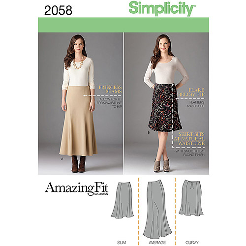 Simplicity Pattern Misses' and Plus Size Amazing Fit Skirt, (20W-28W)