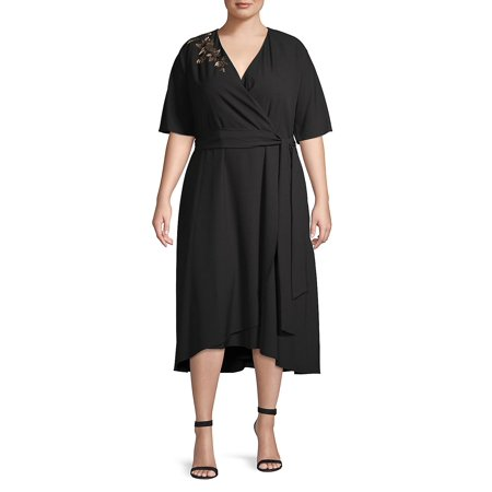 Plus Embroidered High-Low Wrap Dress