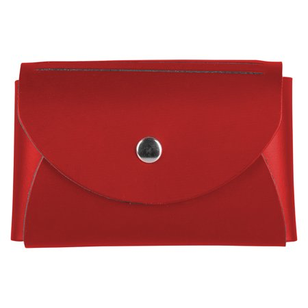 JAM Leather Snap Business Card Case, 1/Pack, Red, Round Flap Snap Business Card