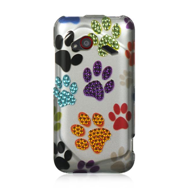 DreamWireless SDAHTCINC4GSLMTDP HTC Droid Incredible 4G LTE Spot Diamond Case, Silver Multi Dog Paws