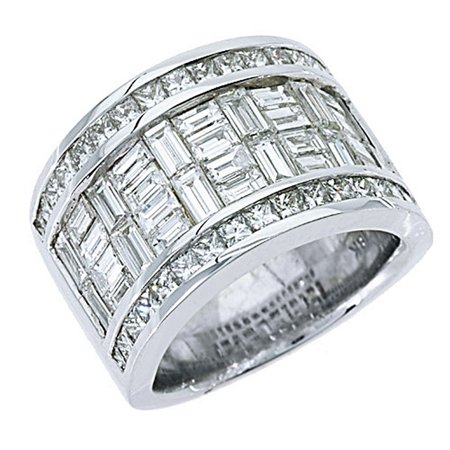 Mens Invisible Set - 18k White Gold Mens Invisible Set Princess & baguette cut Diamond Ring 6.29 Carats