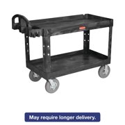Rubbermaid Commercial Heavy-Duty Utility Cart, Two-Shelf, 26w x 55d x 33 1 4h, Black by Rubbermaid Commercial