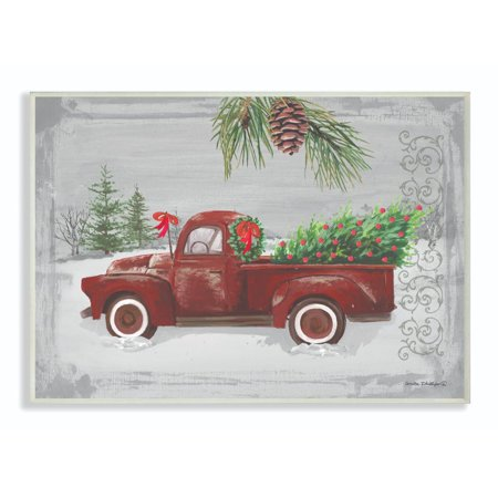 Stupell Industries Holiday Red Truck Christmas Tree Illustration Wood Wall Art By Artist Anita Phillips ()