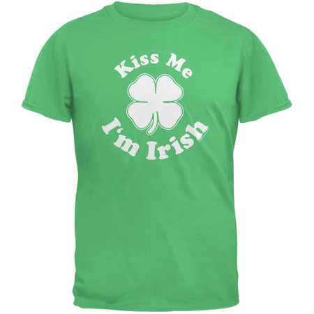 St. Patricks Day Kiss Me Im Irish Green Adult T-Shirt - St Patricks Day Tshirt