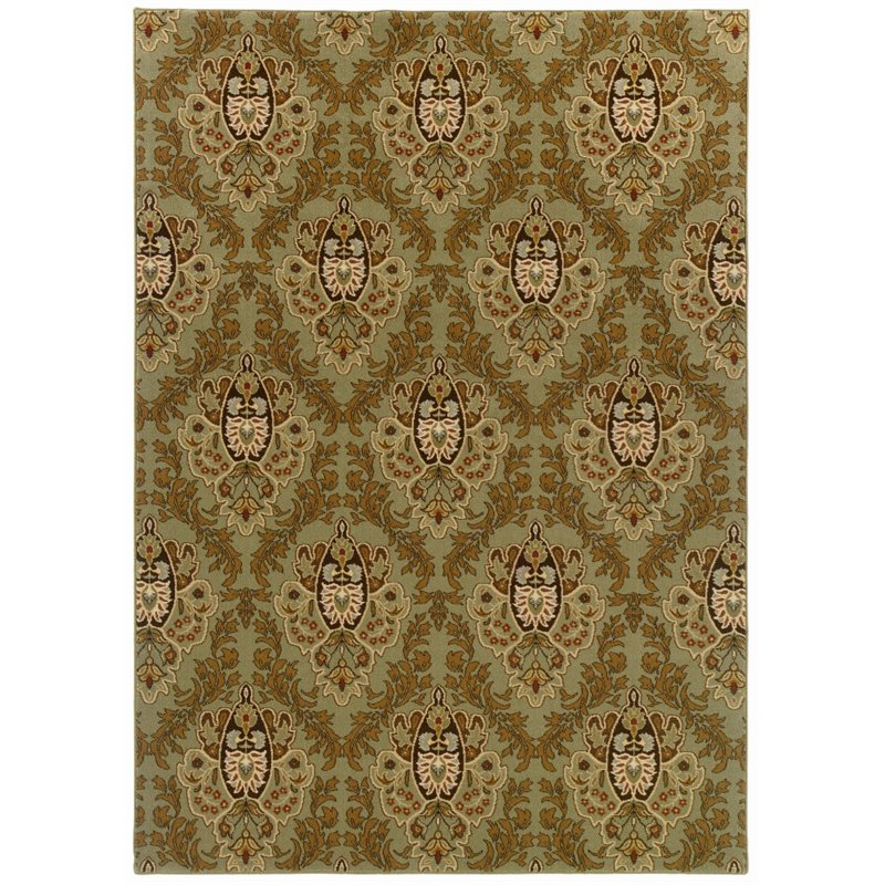 "Oriental Weavers Knightsbridge 4' x 5'9"" Machine Woven Rug in Green"